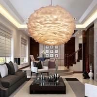 Подвесной светильник в скандинавском стиле с белым пером, Современная гостиная, кухня, декор в стиле лофт, освещение для дома, светильники