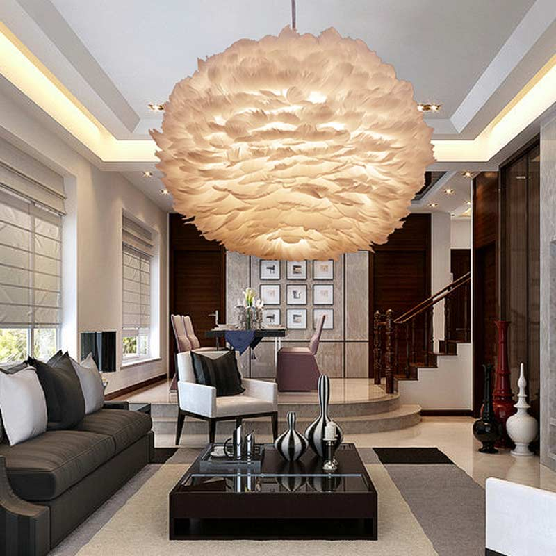 Nordic Design Pendant Light White Feather Hanging Lamp Modern Dinning Room Kitchen Loft Decor Home Lighting Fixtures 110-240V syma x5uw x5uc propellers white