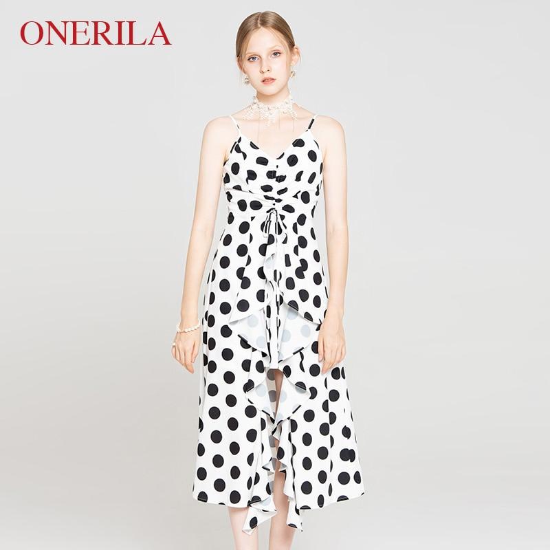 ONERILA 2018 Vintage Sexy Ruffles Spaghetti Strap Black Dot White Dress V Neck Sleeveless Women Front Slit Bandage Midi Dresses