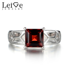 Leige Jewelry Garnet Engagement Rings for Women Solitaire Ring Square Cut Gemstone Jewelry Sterling Silver January Birthston