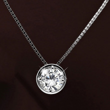 Hot Sale Personalised Dainty Circle Necklace Circle Shaped Round Eternity Necklaces Paved Surround CZ Zirconia Crystal Girl
