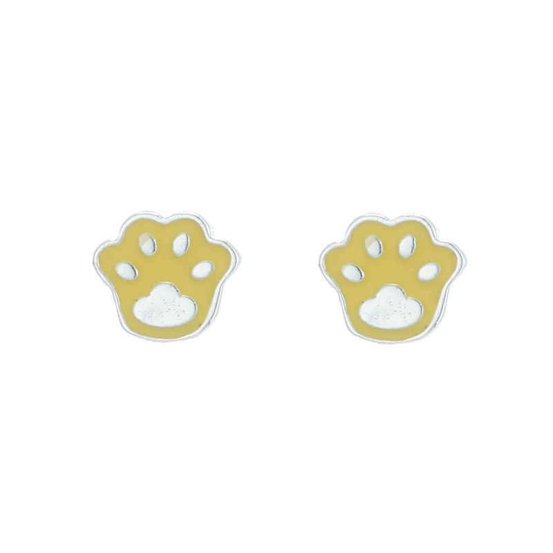 Маргаритки 1 пара стерлингового серебра 925 пробы желтый Эмаль милые собака и кошка отпечаток лапы серьги гвоздики для женщин девочек обручальные подарки ювелирные изделия