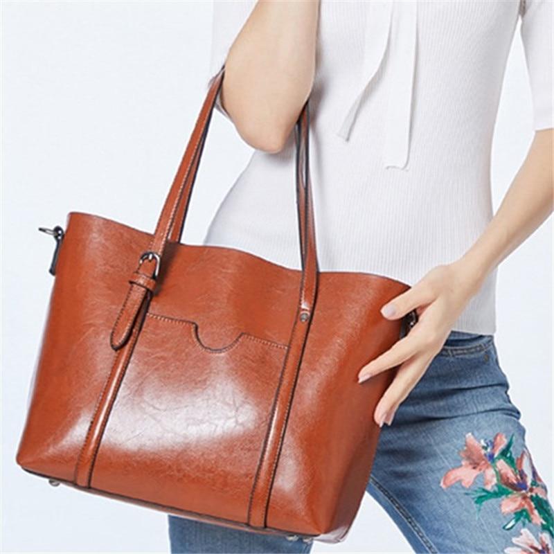 Fashion Women Handbags Oil Wax PU Leather Large Capacity Tote Bag Casual Travel BagFashion Women Handbags Oil Wax PU Leather Large Capacity Tote Bag Casual Travel Bag
