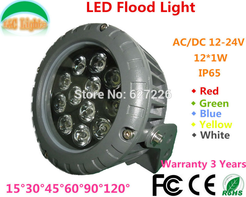 12W LED floodLights AC/DC12-24V Outdoor Lighting IP65 Waterproof Cast light Blue Green Yellow White/Warm White LED Spotlights