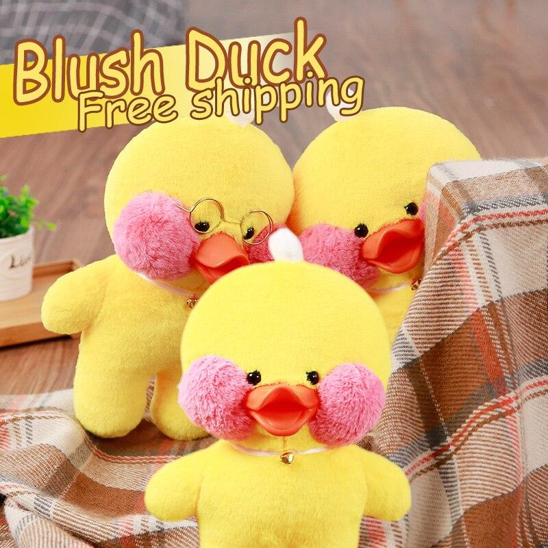 Hyaluronsyra blush liten gul anka Plysch leksaker dockor födelsedag / Xmas present till barn och baby 1pc30cm två stilar med accessorie
