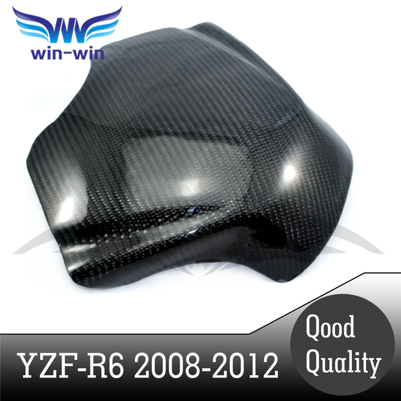 ФОТО new motorcycle accessories black color carbon fiber fuel gas tank protector pad shield rear carbon fiber for yamaha YZF R6 08-12