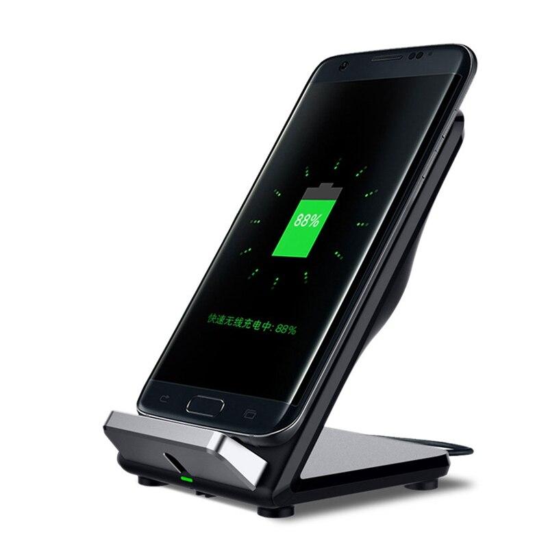 <font><b>2</b></font> катушки Беспроводной быстро Зарядное устройство Стенд держатель Pad с охлаждающим вентилятором Универсальная зарядка для Samsung для Galaxy S8/S8 п&#8230;