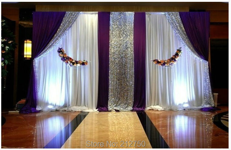Aliexpress.com : Buy Express Free Shipping White+purple+paillette Wedding  Backdrop Curtains Wedding Background Decorations From Reliable Curtain  Fabric For ...