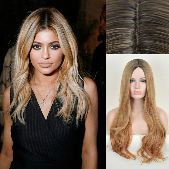 Natural Shell Blonde Ombre Synthetic Curly Front Wig Kylie Jenner Long Heat Resistant