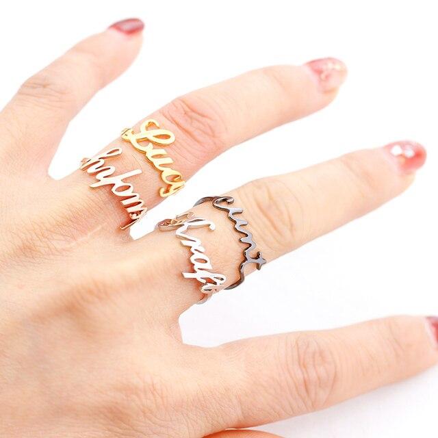 Déclaration nom personnalisé anneau personnalisé lettres initiales ouvert anneaux réglables bijoux faits à la main demoiselles dhonneur cadeaux pour femmes hommes