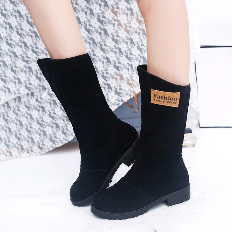 2016秋冬ブーツ女性ラウンドつま先半ばふくらはぎ王女甘い女性のファッショントレンドフラット靴