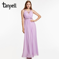 Tanpell Straps Evening Dress Purple Backless Sleeveless Ankle Length Dress Cheap A Line Pleats Beaded Graduation