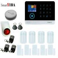 SmartYIBA APP Remote Control RFID card WIFI GSM GPRS Alarm System With Alarm Wireless Window magnetic contact Strobe Siren Alarm