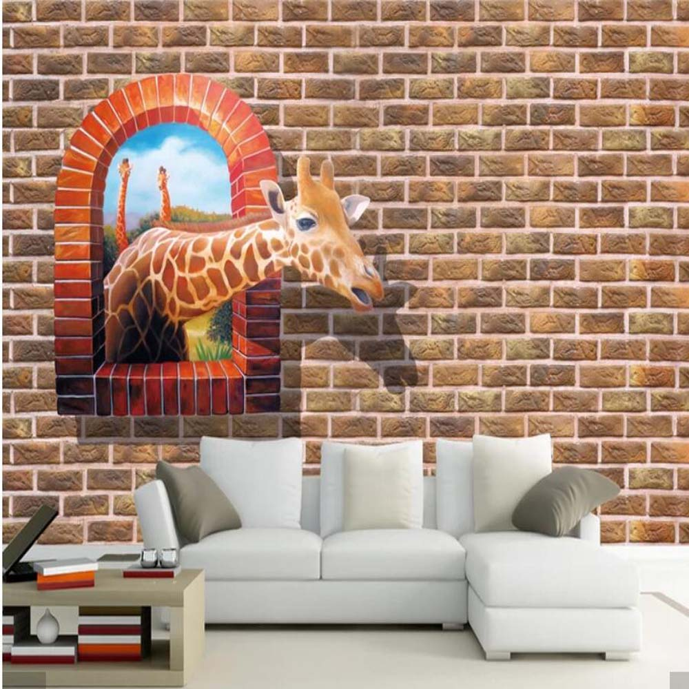 US $10 99 OFF 3D Giraffe Brick Background Wallpaper Mural Art Wall Murals Decal For Bedroom HD Printed Wall Paper Hand Painting