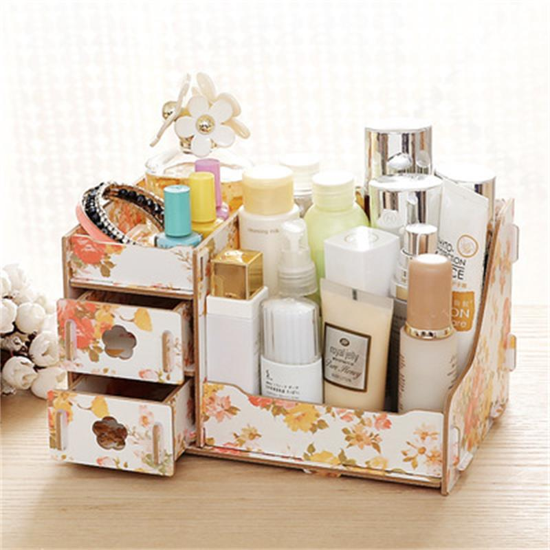 Wooden Cosmetic Desktop Makeup Organizers Multi-grid Cosmetic Storage Box With Drawer Desk Sundries Container Jewelry Box D
