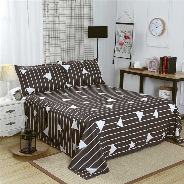 Queen Size Bed Linen With Pillowcase Single Bed Sheet King Size Gray
