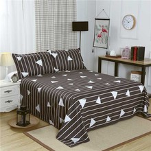 Queen Size Bed Linen with Pillowcase Single Bed Sheet King Size Gray Color Geometric Flat Sheet Set for Bedroom Adults Bed Sheet