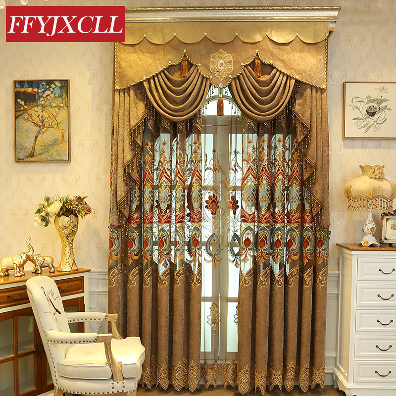 Chenille Cloth Half Shading Luxury Curtains Jacquard Tulle For Living Room Bedroom Kitchen Embroidered Curtains Custom Made