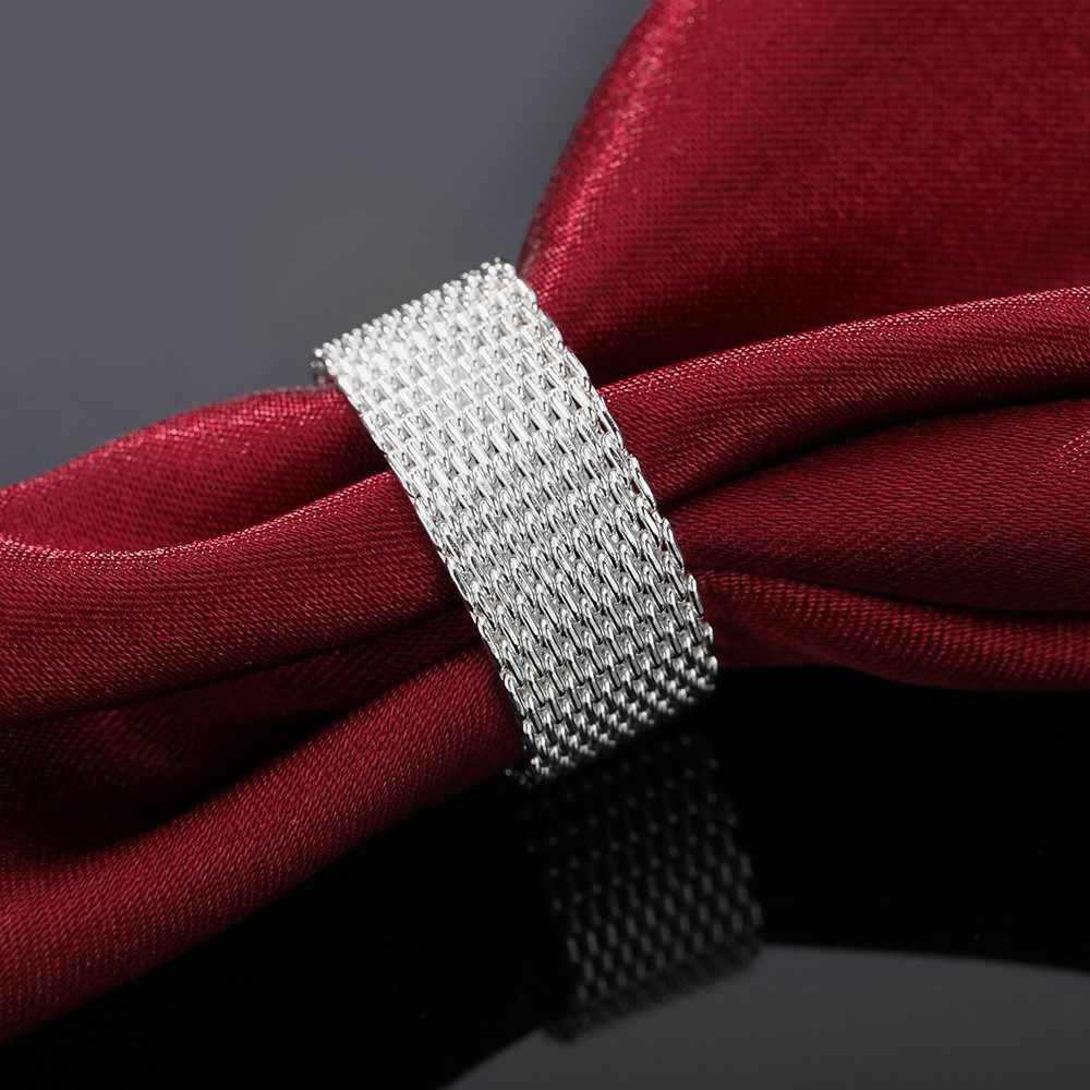 Bague en argent Sterling 925, pour femmes et filles, personnalité, mode OL, cadeau de mariage, tissage large, vente en gros