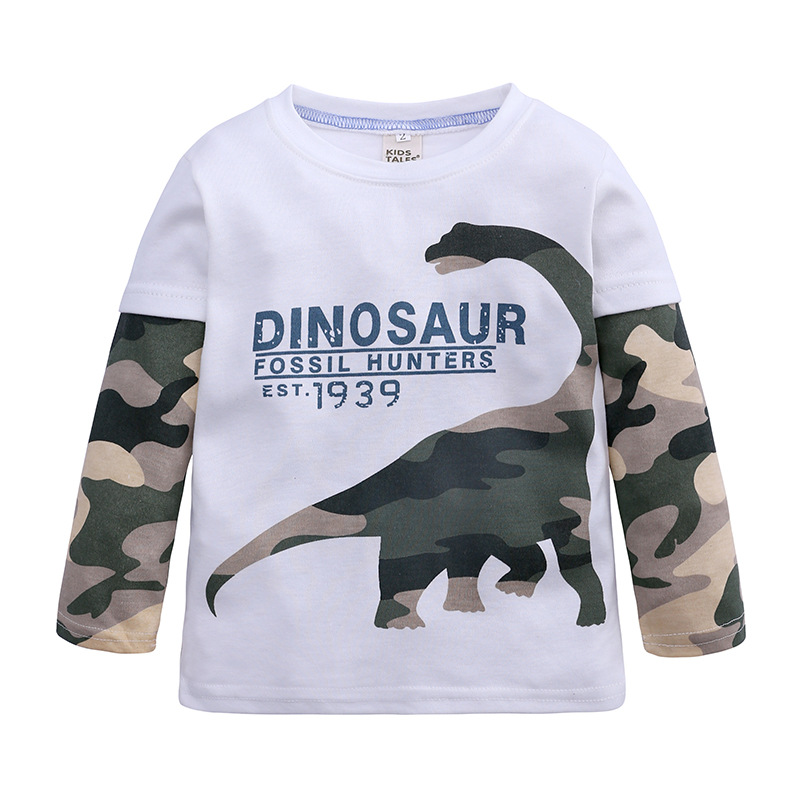 T-Shirt Children Tops Dinosaur Long-Sleeve Print Autumn Baby-Boys Kids Cotton Tees Patchwork