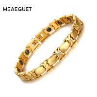 Meaeguet Fashion Bracelets For Women Cubic Zirconia Magnetic Bracelet Therapy Gold Plated Hematite Bangle Jewelry