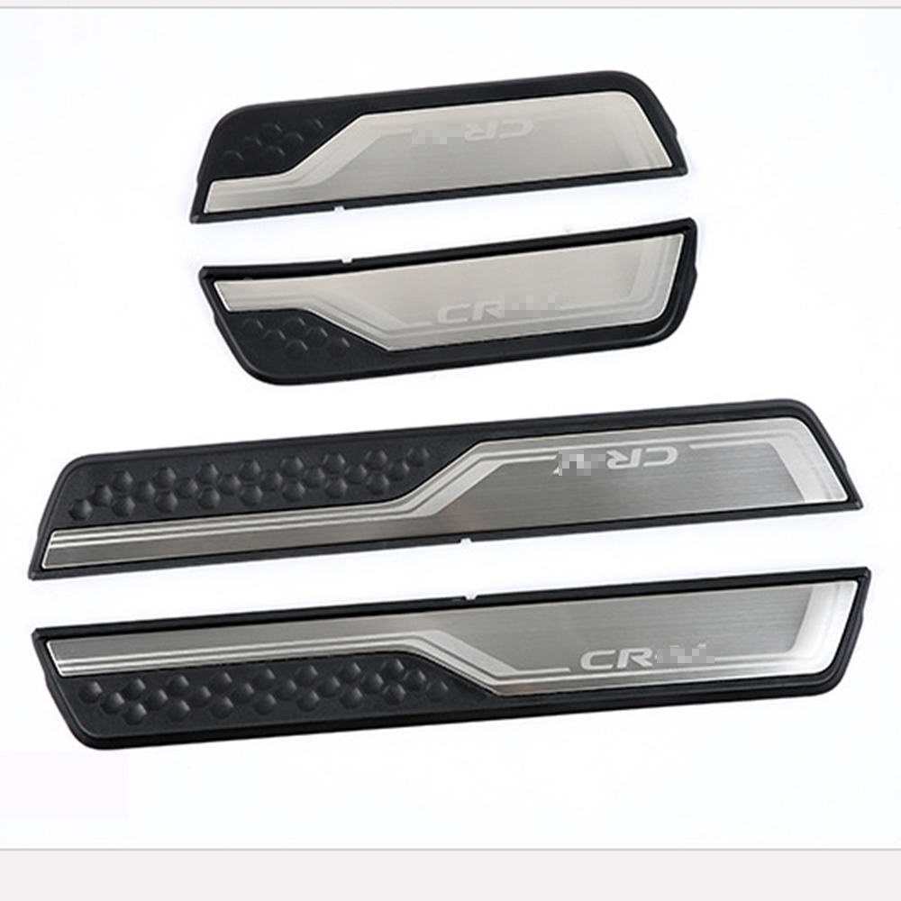 Car Accessories External Door Sill Protector Welcome Pedals Scuff Plate Guards Covers Trim 4Pcs For Honda CRV CR V 2017 2018