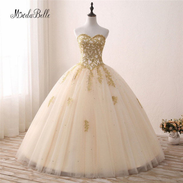 modabelle Tulle Sweet 16 Gold Ball Gown Quinceanera Dresses 2017 Lace  Applique Sweetheart Champagne Vestidos 15 Anos Festa f624bf54d857