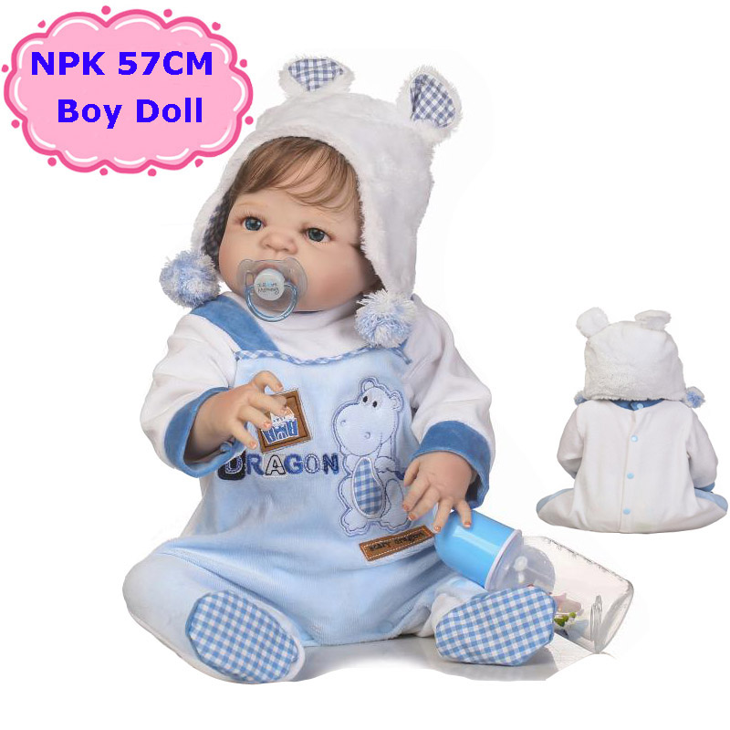 Adorable NPK 57CM Boneca Bebe Reborn Dolls Handmade Full Silicone Reborn Baby Doll In Cute Clothes Fashion Reborn Bebe Boy DollsAdorable NPK 57CM Boneca Bebe Reborn Dolls Handmade Full Silicone Reborn Baby Doll In Cute Clothes Fashion Reborn Bebe Boy Dolls