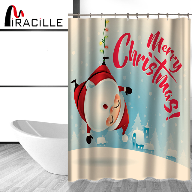 Miracille Waterproof Polyester Fabric Shower Curtain Cute Colorful  Christmas Series Home Bathroom Curtains With 12 Hooks
