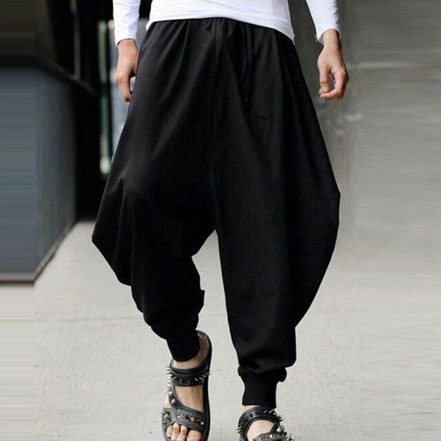 High Waist Men Baggy Cotton Pants Harem Plus Size Japanese Style