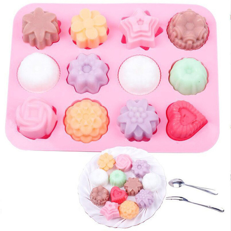 1pcs Cake Baking Mould Flower Shaped Silicone Mould DIY Handmade Candle Cake Baking Soap Moulds Mold Kitchen Tools Soap Making