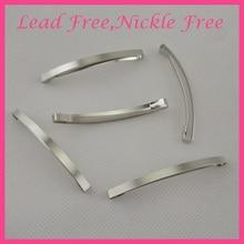 """20 шт серебро 4 мм* 6,4 см 2,"""" тонкие простые прямоугольные металлические скользящие заколки для волос DIY банты для волос не содержит свинец и никель"""
