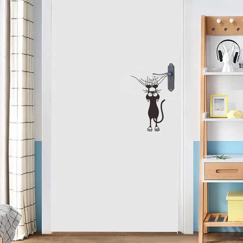 الكرتون القط تسلق جدار حافة الجدار ملصق ديكور المنزل للأطفال غرف جدارية ملصقات فنية الحيوانات ملصقات الباب خلفية