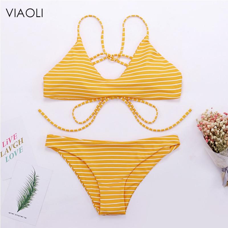 Women Yellow Blue Black Stripes Bikinis 2018 Sexy Ladies Swimwear Simple Small Fresh Lace-up Female Swimsuit Brazilian Beach