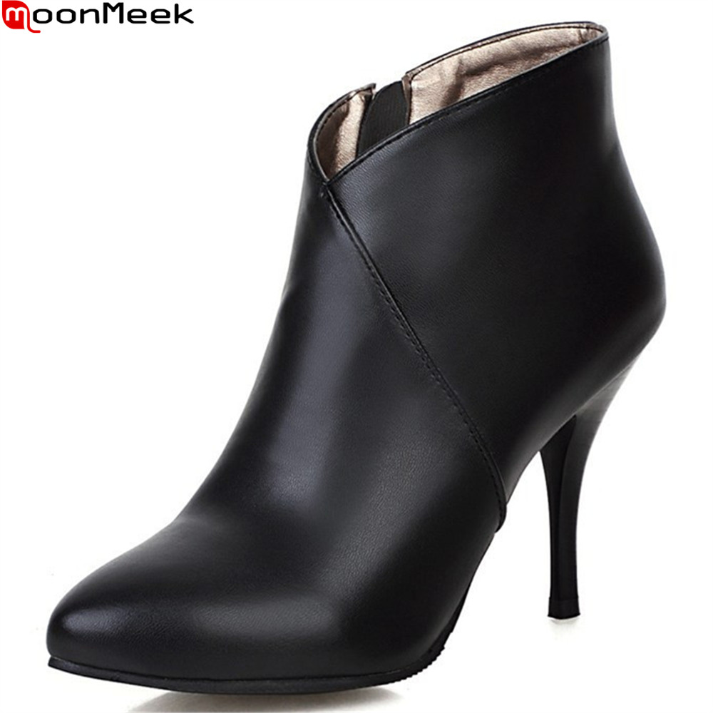 MoonMeek black red fashion new arrive women boots zipper ladies boots super high thin heel ankle boots autumn winter boots moonmeek 2018 autumn winter new arrive