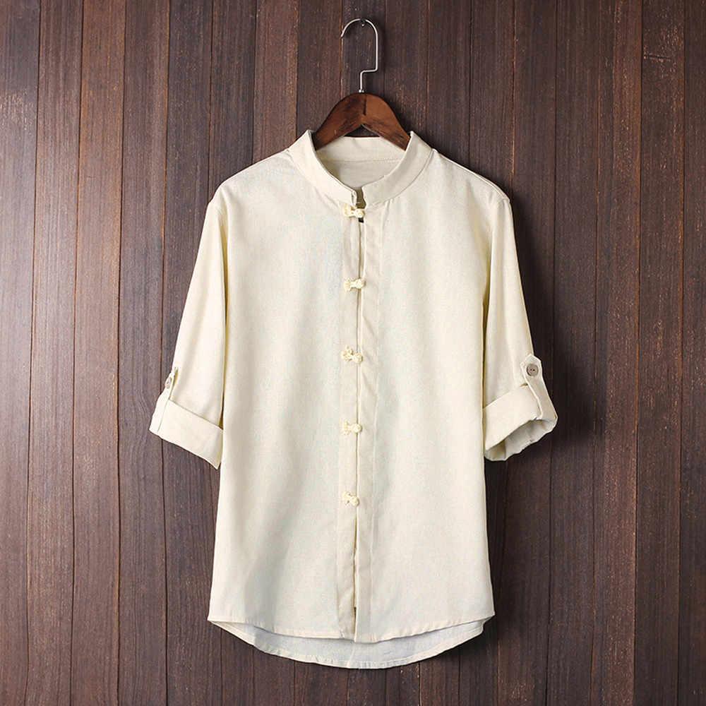 メンズ夏のシャツ古典的な中国風のカンフートップス唐装 3/4 スリーブソリッドリネンクール薄型通気性ブラウスシャツ男性トップ