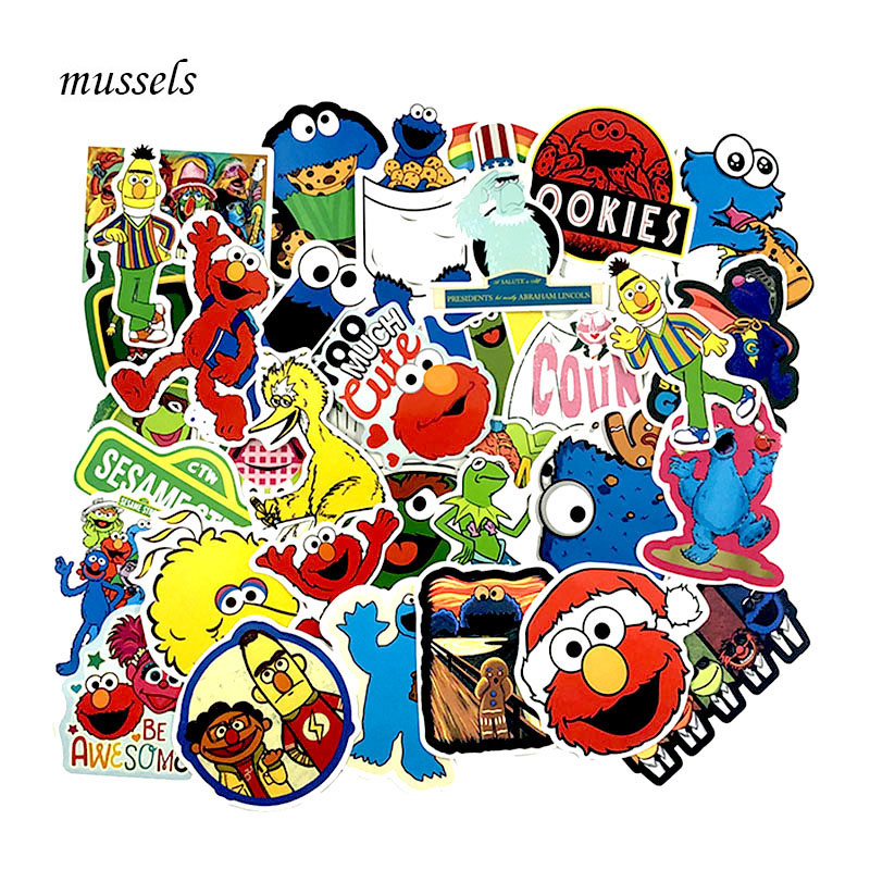 50 Pcs/Set Sesame Street Graffiti Stickers For Laptop Skateboard Notebook Car Motorcycle Toy Car Styling PVC Waterproof Sticker50 Pcs/Set Sesame Street Graffiti Stickers For Laptop Skateboard Notebook Car Motorcycle Toy Car Styling PVC Waterproof Sticker