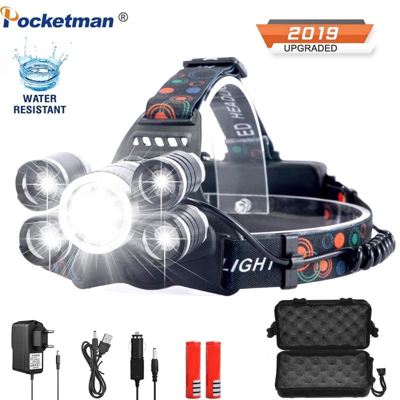 20000lumens LED Headlamp Fishing Headlight T6 Brightest Head Torch Flashlight Head Lamp Lampe Frontale Use 18650 By Fishing