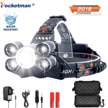 7000lumens LED headlamp fishing headlight T6 Brightest Head Torch flashlight Head lamp lampe frontale use 18650 by Fishing rechargeable head torch 10000lm 3 cree xml t6 led headlight lamp zoom 4 mode 18650 lampe frontale fishing light head flashlight