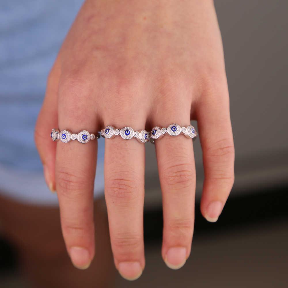 เงินสีขาว cz เคลือบสีฟ้าตุรกี evil eye eternity band แฟชั่น lucky ผู้หญิงแหวนหมั้นแหวน