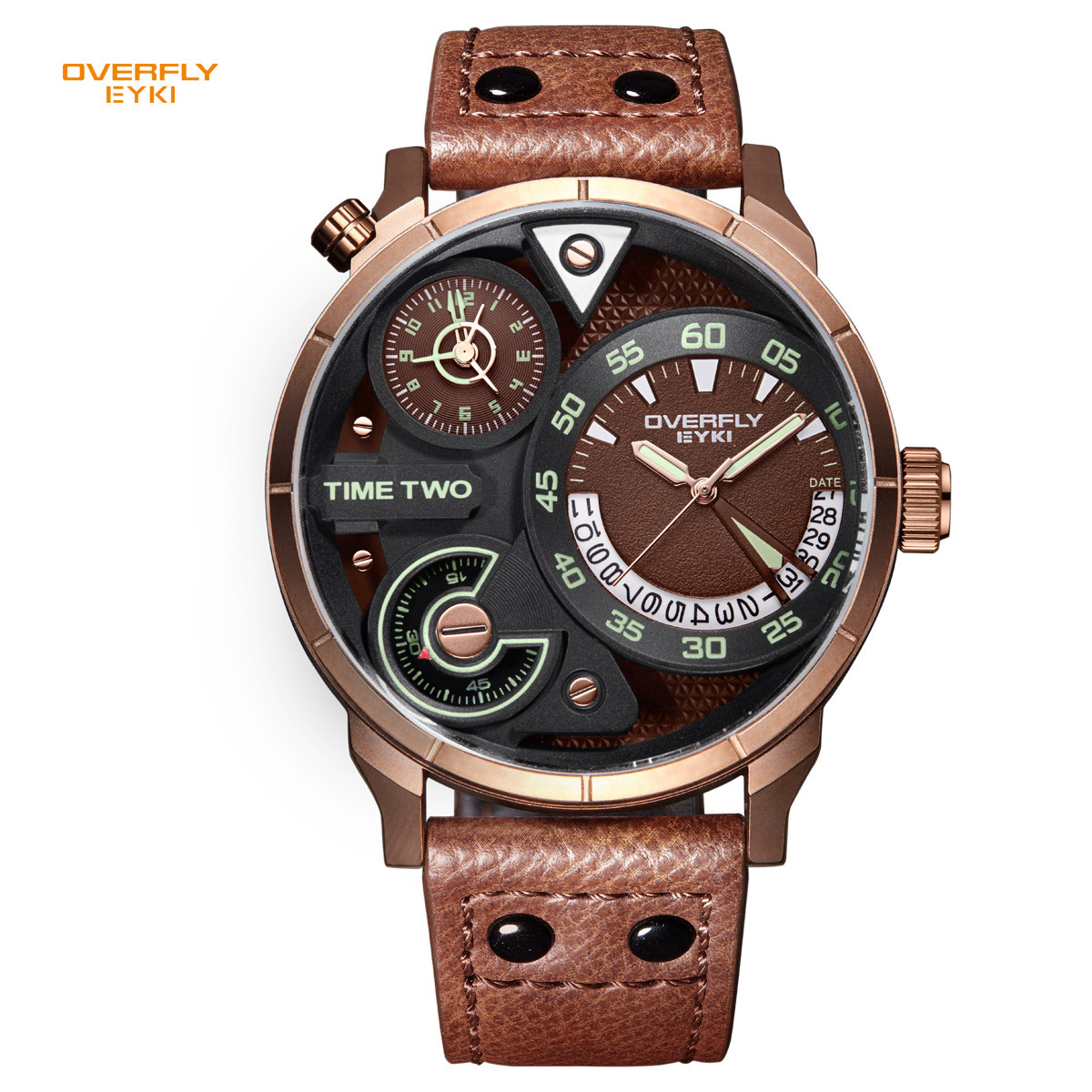 EYKI Brand Men Watches Big Dial Two Time Zone Display Sports Watch Male Genuine Leather Waterproof Clock Relogio Masculino 2018