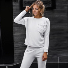 MVGIRLRU Beading Women's Suits grey sport suit O-neck pullover tops pants two piece set female tracksuit