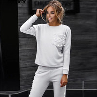 Tapakva Long Sleeve Pearl Beading Women's Tracksuits O Neck Sweatshirt + side bead Long Pants two Piece set