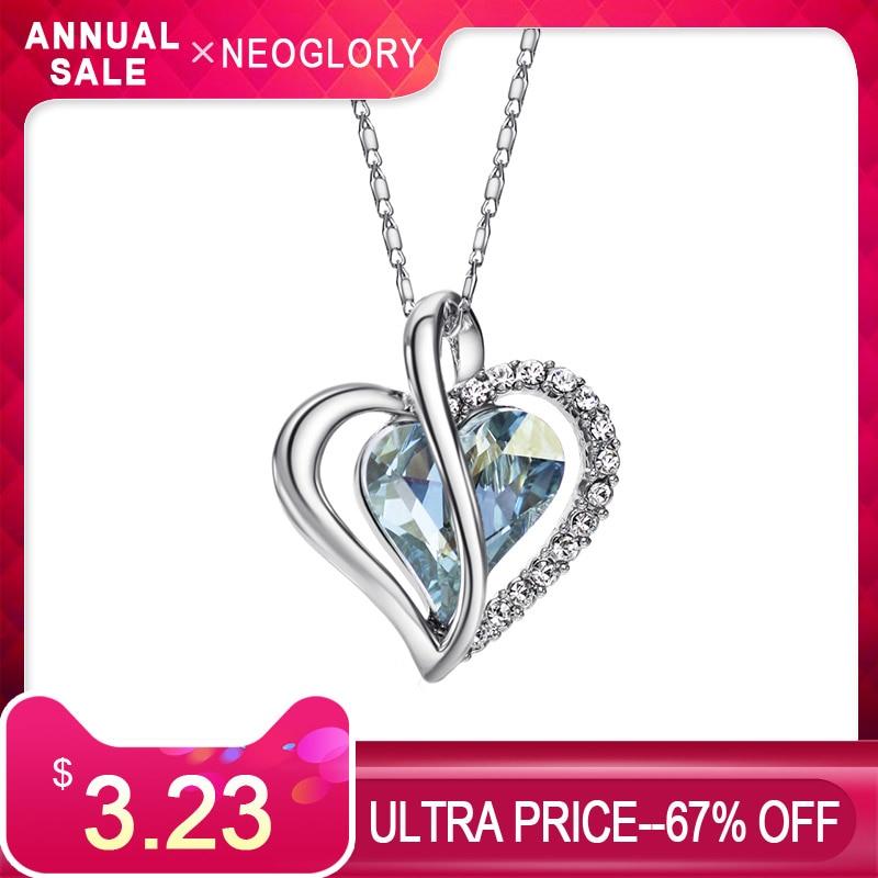 Neoglory Cristal de Austria y de mucho encanto colgante de la declaración del collar de la playa de Playa amor corazón fiesta clásica