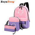 Sets Backpack Women School Bag Book Bag For Teenager Nylon Character Baymax Fluorescence Fashion Preppy Style 2017 Sac A Main