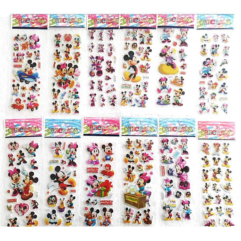 12pçs adesivos de desenho animado 3d, adesivos de bolha do mickey mouse, adesivos de parede inchado para crianças, presente, etiqueta, etiqueta