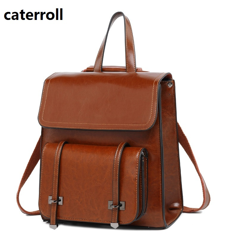 Women Backpack Genuine Leather Ladies Travel Bags Vintage School Bags For Girls Shoulder Bag Real Leather Bagpack