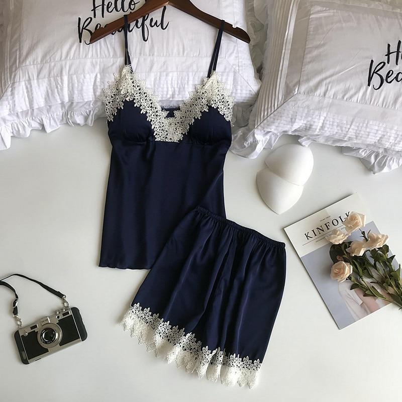Freshing Summer Patchwork Lace Sexy Pajamas With Pad V-Neck Pajama Set  For Women High Quality Fashion Sleepwear