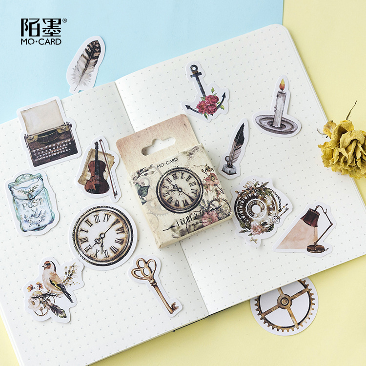 46PCS/box New Cute Old Chapter Diary Paper Lable Sealing Stickers Crafts And Scrapbooking Decorative Lifelog DIY Stationery