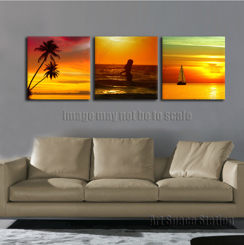 Wall Art Decor Sea Beach Tropical Palm Trees Photo,3 Piece Large Sunset Modern Seascape Painting Print Home Decoration No Framed